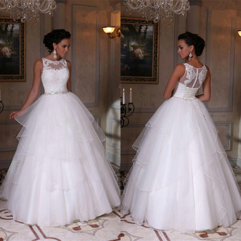 Modern White Scoop Sleeveless 2020 Wedding Dress Appliques Tulle Bridal Gowns