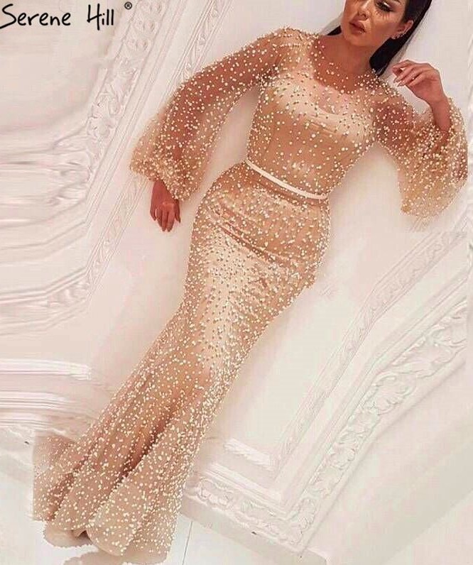 2020 Glamorous Gold Crew Long Sleeves Mermaid Prom Gown | Floor Length Beadings Evening Dress On Sale
