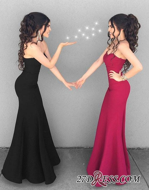Mermaid Simple Black Sweetheart-neck Stylish Long Evening Dresses BA6852