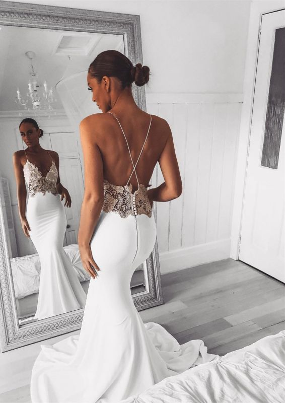Sexy Mermaid Lace Spaghetti Strap Wedding Dress | Open Back Bridal Gown