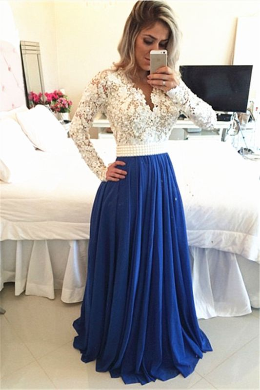 Glamorous Long Sleeve Chiffon Prom Dress With Pearls And Lace Appliques BT0