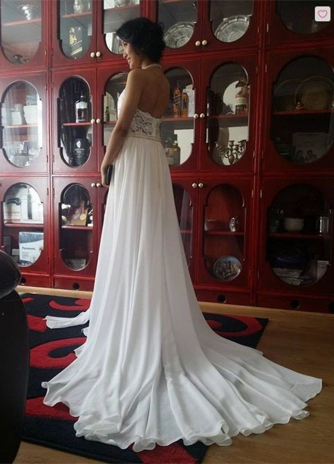 Newest High Neck Elegant Prom dress 2020 Long beadings Chiffon Evening gown With Lace Appliques CPS231