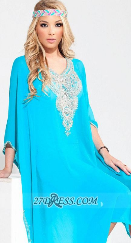 Glamorous V-neck 3/4-length Sleeve Chiffon Arab Evening Dress With Beadings Crystals