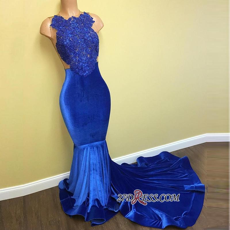 Lace Sleeveless Blue Mermaid Gorgeous Prom Dress FB0014