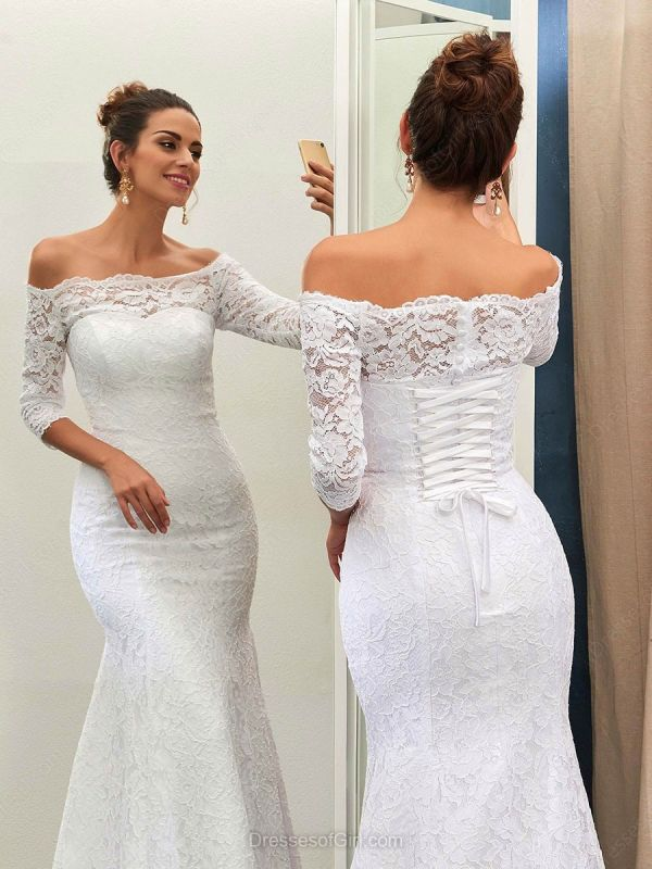 Sheath-Column Off-the-shoulder Sweep-train Simple Lace-up Half-sleeves Wedding Dress BA7158