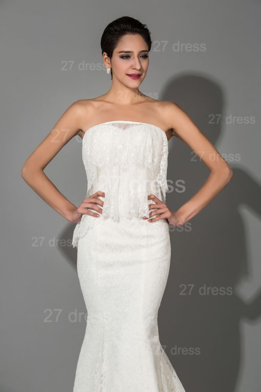 Modern Strapless White Lace Evening Dress Sweep Train