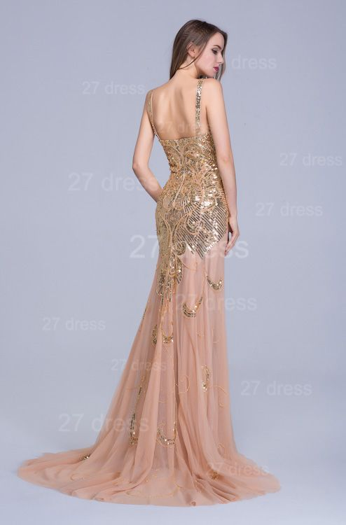 Glamorous Straps Mermaid Sequins Evening Dress Sweep Train