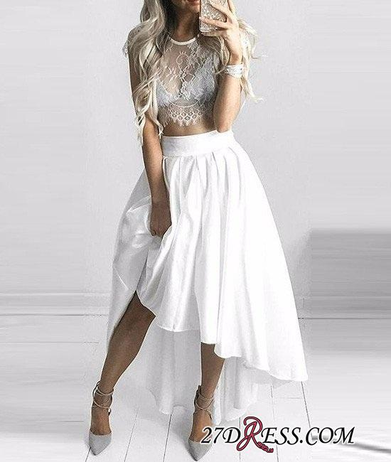Hi-Lo White Capped-Sleeves Lace Sexy Two-Piece Prom Dresses