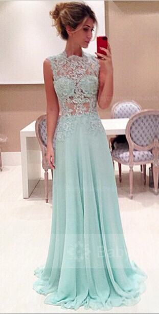 Elegant Sleeveless High-Neck Long Chiffon Prom Dresses 2020 With Appliques