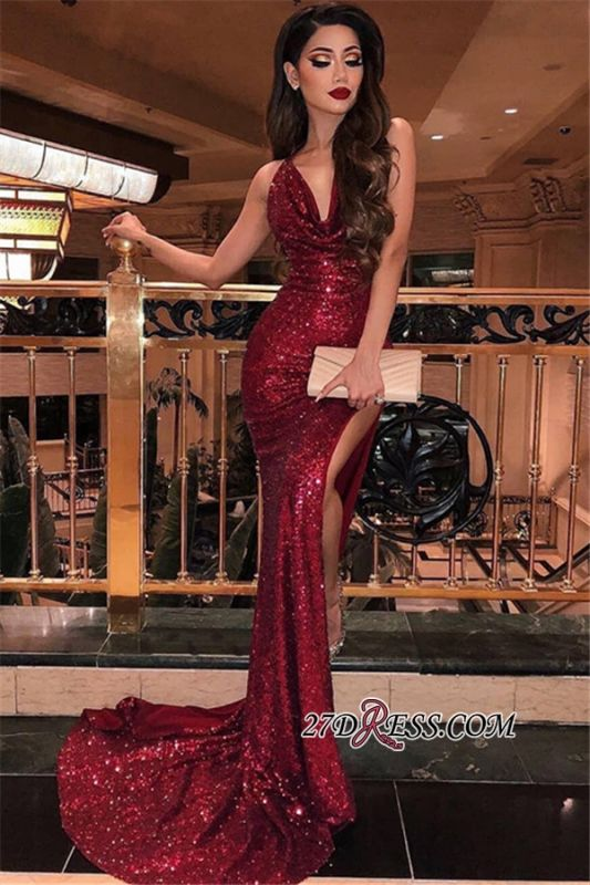 Sexy Sequins Burgundy Mermaid Prom Dresses | V-Neck Sleeveless Side Slit Evening Dresses BC0866