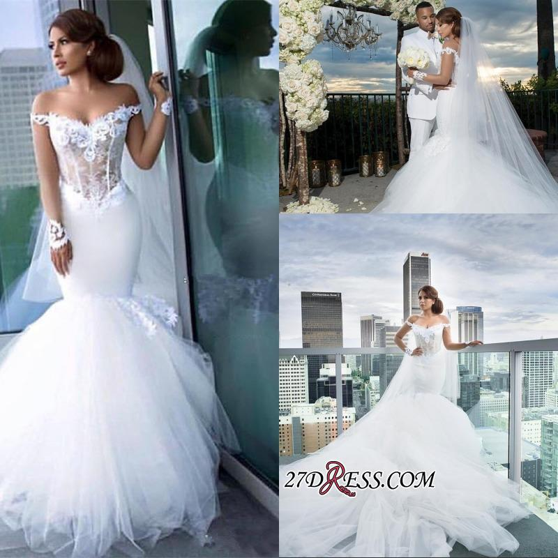 2020 Tulle Long-Sleeves Off-the-Shoulder Appliques Mermaid Elegant Wedding Dress qq0158