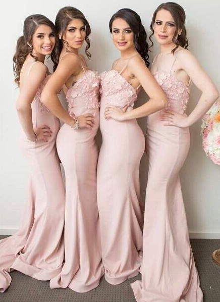 Pink Mermaid 3D-Floral-Appliques Spaghettis-Straps Bridesmaid Dresses