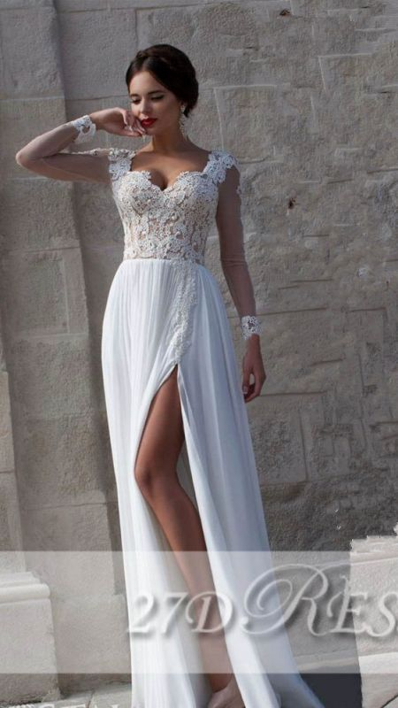 New Arrival Lace Long Sleeves Sweetheart Chiffon Prom Dress With Split
