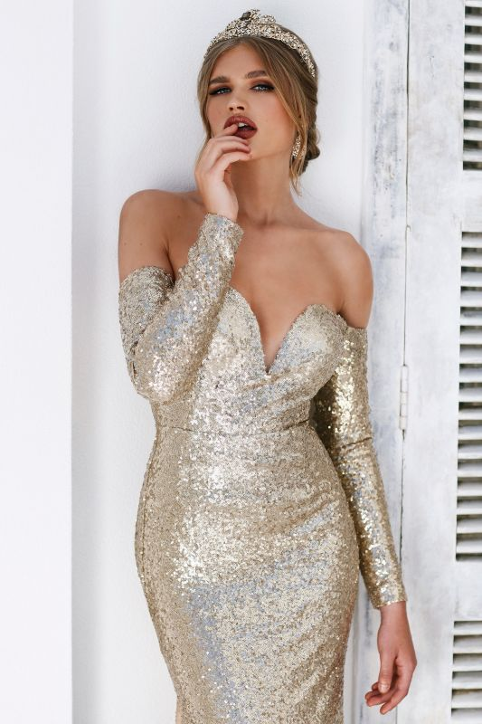 Gorgeous Sweetheart Mermaid Long Sleeves Prom Gown | 2020 Sequins Long Evening Dress With Split BC0751