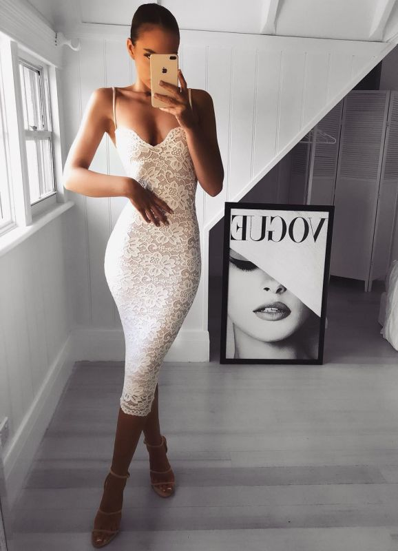 Sexy Lace Spaghetti Strap Bodycon Cocktail Dress | Tea-length Party Gown