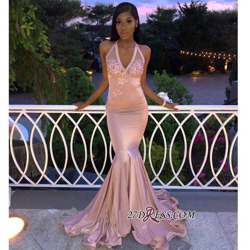 Cheap Flowers Appliques Mermaid Party Dresses | Sexy Halter Sleeveless Pink Prom Dresses BC1254 bk0