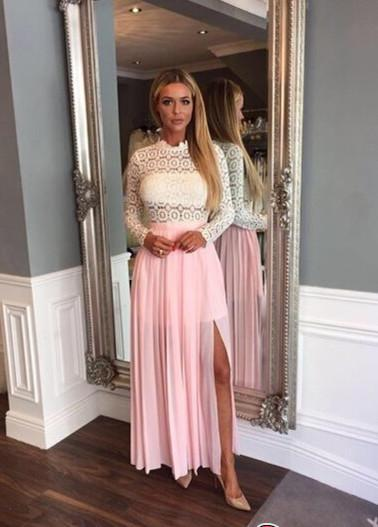 Zipper High-Neck Elegant Split Lace Chiffon Long-Sleeve A-line Prom Dress