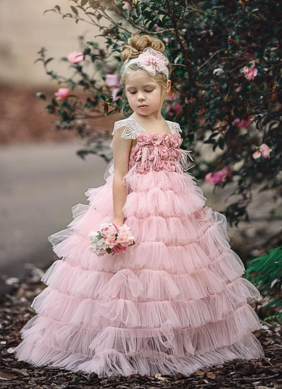 Pink Layers Tulle Flower Girl Dress | 2020 Lace Princess Girls Pageant Dress BA9852