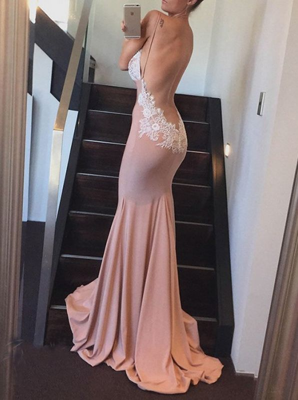 Charming Backless Lace 2020 Prom Dress Lace Long Mermaid Party Dress BA7341