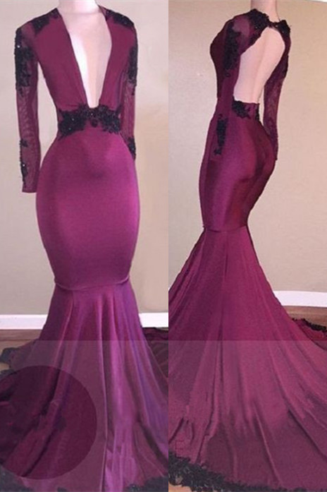 Burgundy Lace 2020 Prom Dress   Mermaid V-Neck Black Lace Evening Gowns BA7833