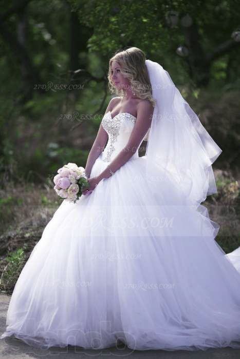 Crystal Tulle Ball Gown Wedding Dresses with 2020 Sweetheart Sleeveless Sequins Lace-up Court Train Bridal Gowns