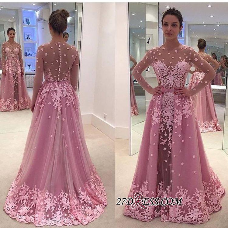 2020 Pink Overskirt Long-Sleeves Sheer Lace-Appliques Prom Dresses