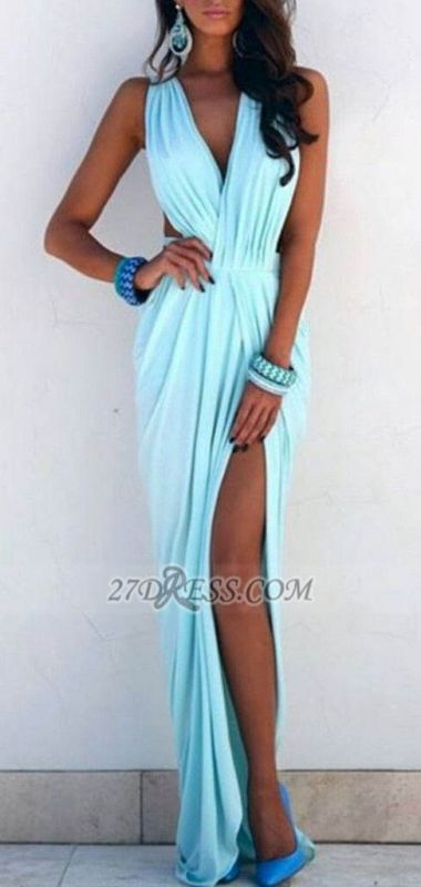 Sexy V-neck Sleeveless Long Prom Dress With Front Split