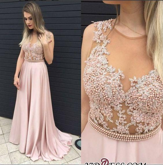 2020 Long Pearls Pink A-line Top Sheer Sleeveless Prom Dresses
