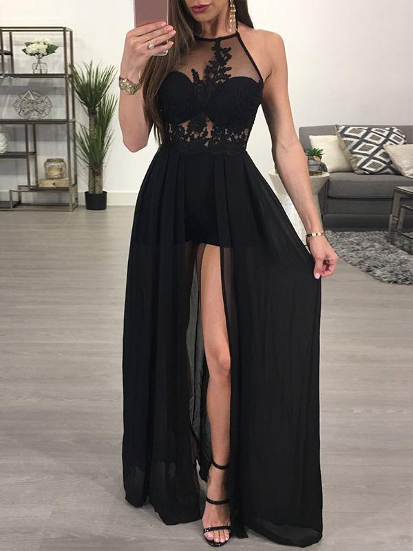 Sexy Black Halter Split 2020 Prom Dress Lace Chiffon On Sale BA7347
