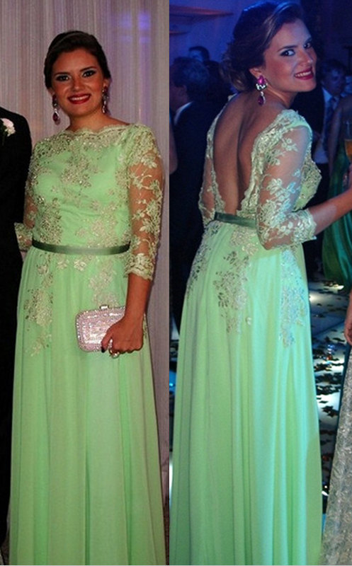 Lace Long Sleeve Open Back Dress New Arrival Gorgeous Gowns for Proms 2020 Appliques 3/4 Chiffon Evening