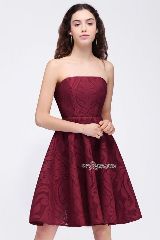 Short Simple Strapless Sleeveless Burgundy A-line Homecoming Dress