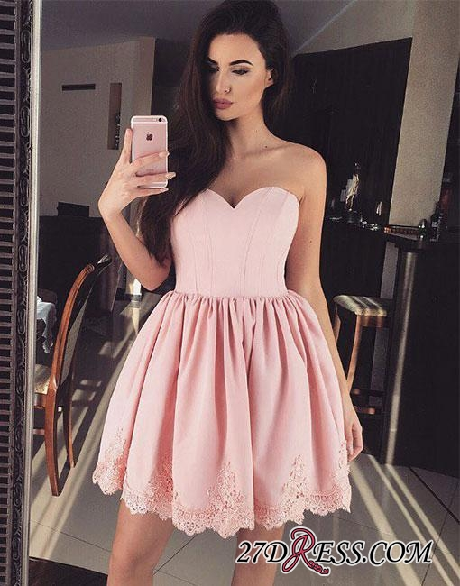 Cute Pink Sweetheart-neck Short Lace Homecoming Dress