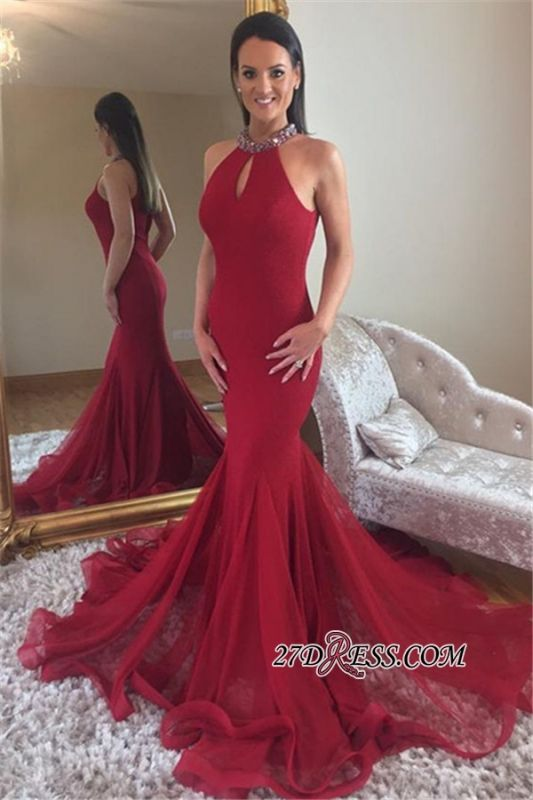 Crystal Sleeveless Red Tulle Long Prom Dresses | Elegant Halter Mermaid Evening Dresses bk0