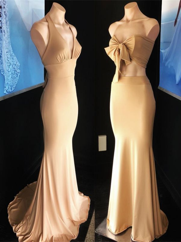 Sexy Champagne Sleeveless Mermaid Party Gown   Long Cheap Formal Dress