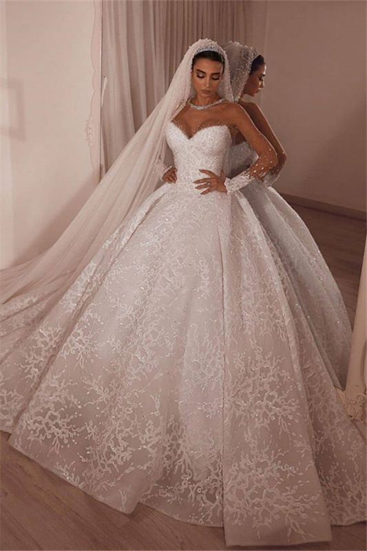 Luxury Strapless Beading Appliques Wedding Dresses Lace Sheer Tulle Bridal Gown