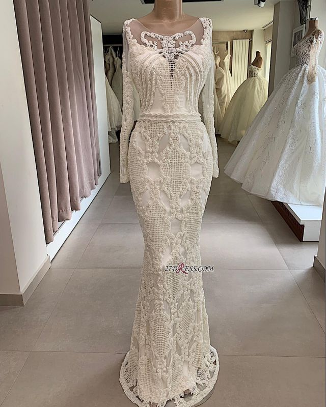 Mermaid Attractive Jewel Long-Sleeves Appliques Wedding Dresses