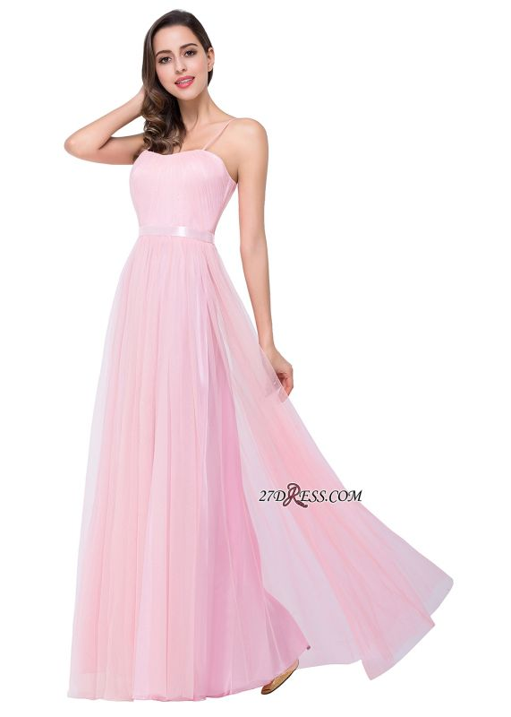 Pink A-Line Ruffles Spaghetti-Straps Simple Open-Back Evening Dress