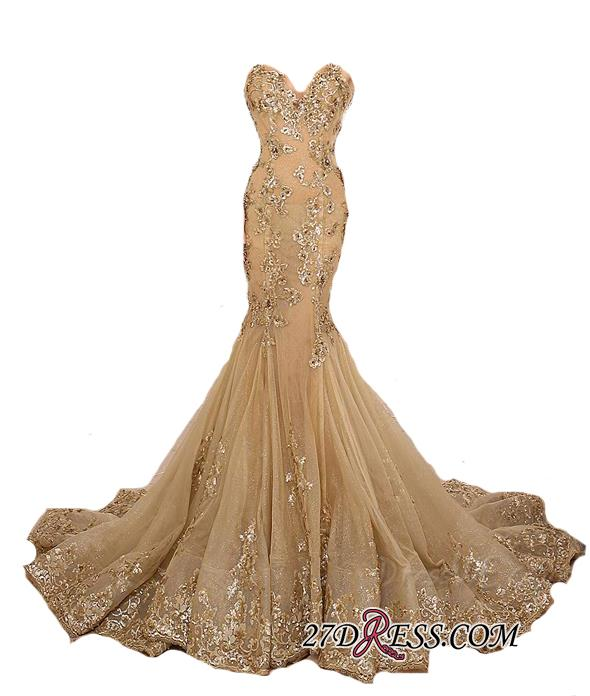 Lace-Up Sweetheart-Neck Lace-Appliques Gold Long Mermaid Prom Dresses BA5174