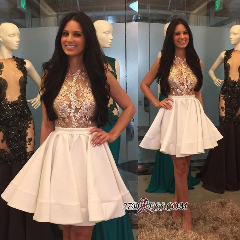 Mini Appliques High-Neck Lace Sheer Puffy-Skirt Pretty Homecoming Dresses