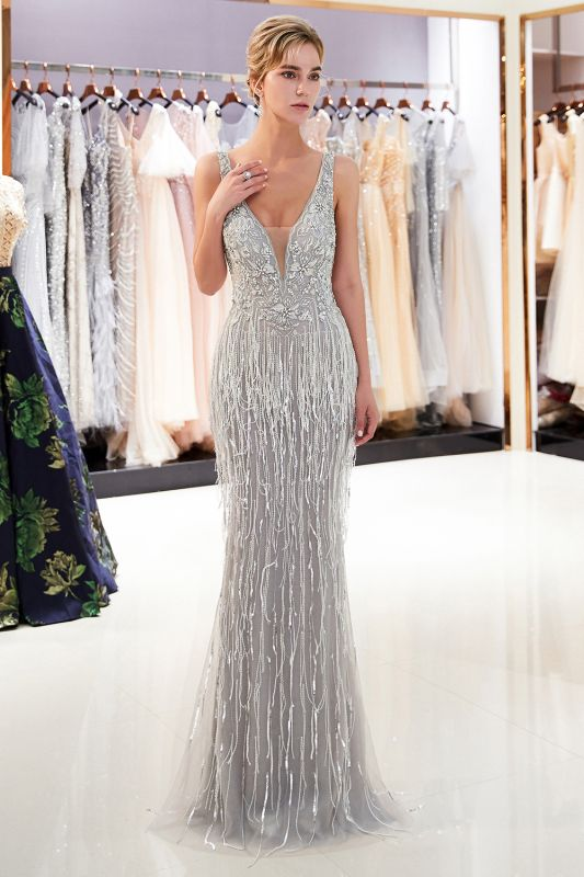 Glamorous V-Neck Sleeveless Mermaid Prom Dresses | 2020 Long Sequins Evening Gown With Tassels