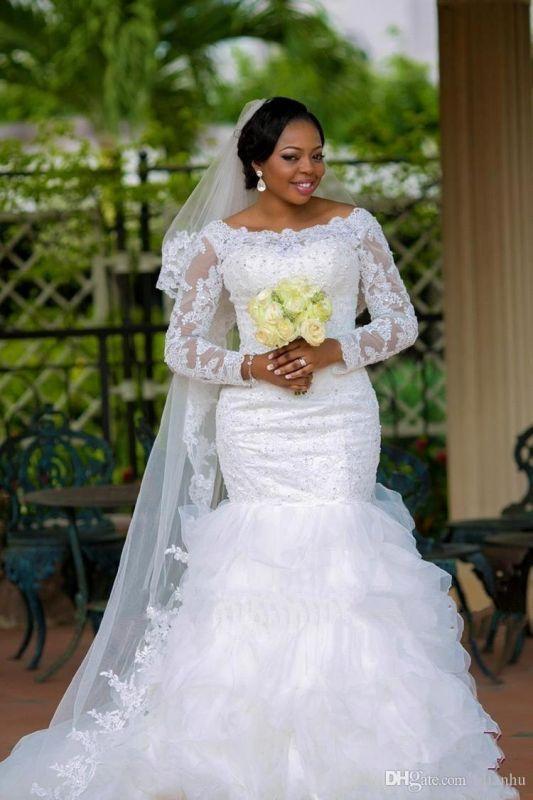 Gorgeous Long Sleeve Plus Size Wedding Dress 2020 Mermaid Lace Appliques With Beads