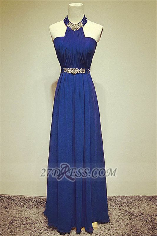 Elegant High Neck Long Chiffon Evening Dresses Beadings Crystals Prom Gowns