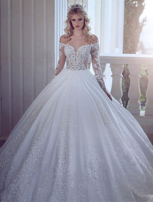 Gorgeous Off-the-Shoulder Long Sleeves Wedding Dress | Lace Appliques Ball Gown Bridal Gowns