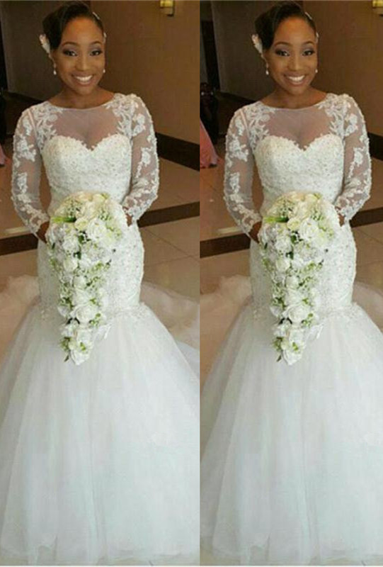 Newest Lace Appliques Mermaid 2020 Wedding Dress Long Sleeve Tulle