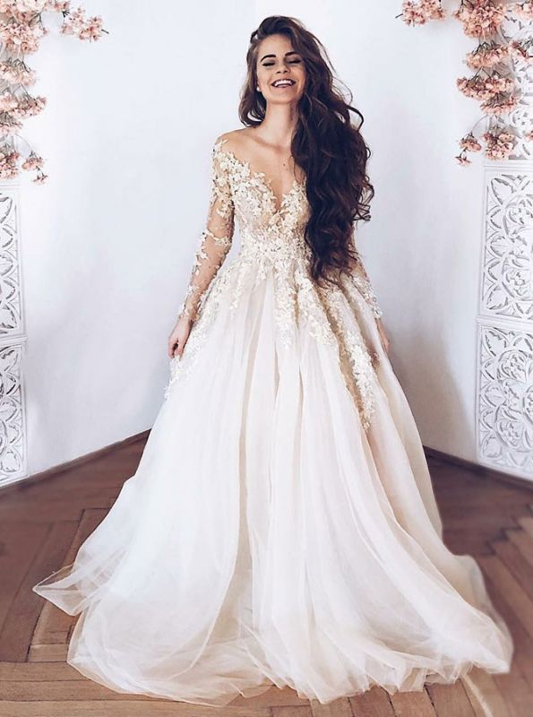 Glamorous Long Sleeves Tulle 2020 Bridal Gown | V-Neck Lace Appliques Princess Wedding Dress
