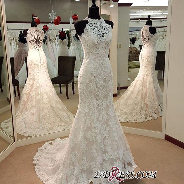 Full-Lace Sleeveless Mermaid Button Zipper Charming Wedding Dress