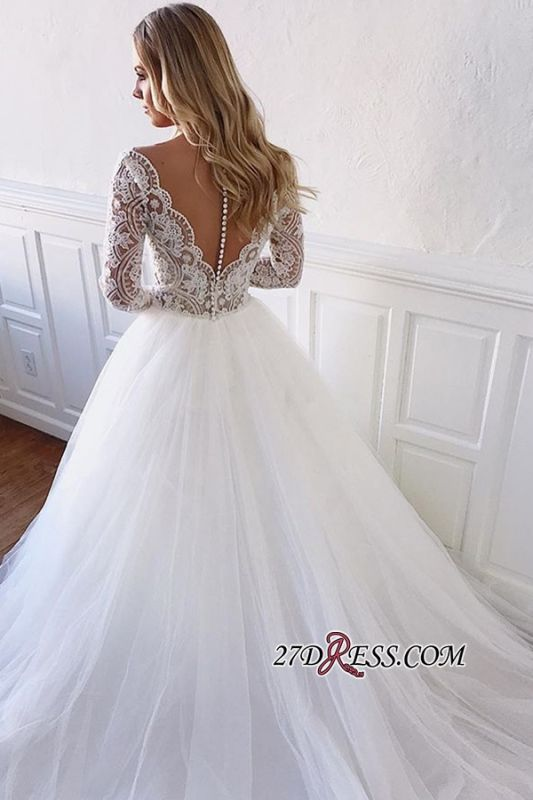 V-neck A-line Appliques Marvelous White Illusion-Long-Sleeves Lace Wedding Dresses