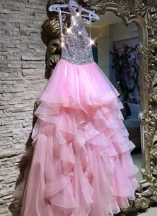 Modest Pink Crystals Ruffled Evening Dress | 2020 Floor-length Party Gown