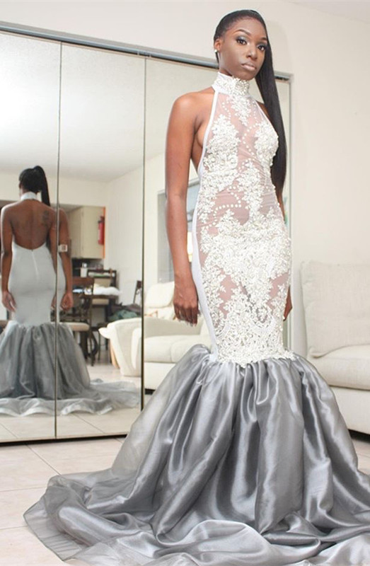 Halter Lace Prom Dress | Mermaid 2020 Backless Evening Gowns
