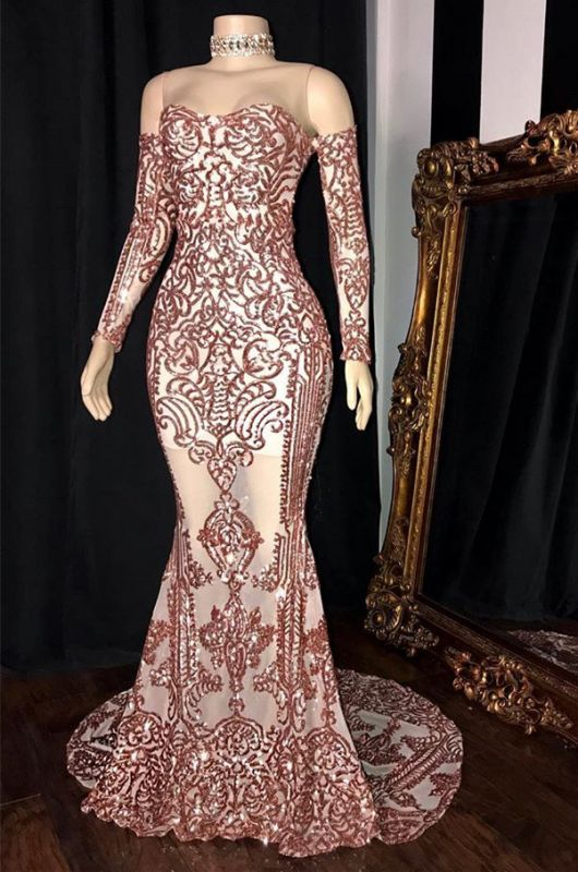 Gorgeous Long Sleeve Rose Pink Prom Dress | 2020 Mermaid Long Sequins Evening Party Dress BC1534